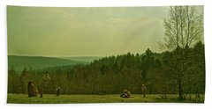 Beach Towel featuring the photograph Wendover Woods by Anne Kotan