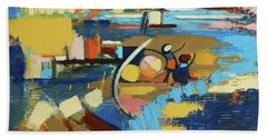 Beach Towel featuring the painting West End Blues by Erin Fickert-Rowland