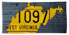 West Virginia State Recycled Vintage License Plate Map Art Beach Towel