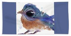 Beach Towel featuring the painting Western Bluebird by Dawn Derman