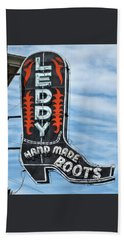 Beach Towel featuring the photograph Western Boot Sign by David and Carol Kelly