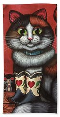 Western Boots Cat Painting Beach Sheet