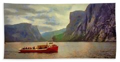 Beach Towel featuring the painting Western Brook Pond by Jeff Kolker