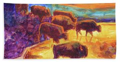 Western Buffalo Art Bison Creek Sunset Reflections Painting T Bertram Poole Beach Towel