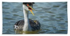 Western Grebe Beach Towel by Tam Ryan