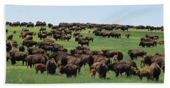 Western Kansas Buffalo Herd Beach Towel