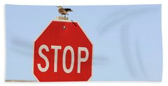Western Meadowlark Singing On Top Of A Stop Sign Beach Towel by Louise Heusinkveld