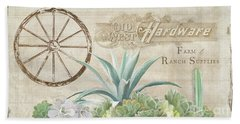 Beach Towel featuring the painting Western Range 4 Old West Desert Cactus Farm Ranch  Wooden Sign Hardware by Audrey Jeanne Roberts