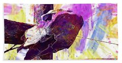 Beach Sheet featuring the digital art Western Skull Farm Trophy Skeleton  by PixBreak Art