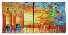 Beach Towel featuring the painting Western Wall Jerusalem Wailing Wall Acrylic Painting 2 Panels by Georgeta Blanaru