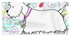 Westie In A Spring Plaid Beach Sheet