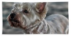 Westie Love Beach Sheet by Clare Bevan