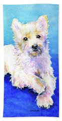 Westie Painting In Watercolor  Beach Towel