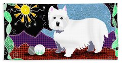 Westie Patchwork Beach Sheet