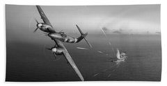 Beach Towel featuring the photograph Westland Whirlwind Attacking E-boats Black And White Version by Gary Eason