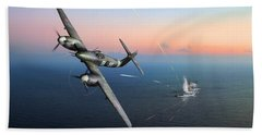Beach Towel featuring the photograph Westland Whirlwind Attacking E-boats by Gary Eason