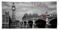 Westminster Bridge And Big Ben London Beach Towel by Lynn Bolt