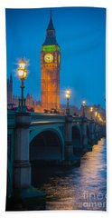Westminster Bridge At Night Beach Sheet by Inge Johnsson