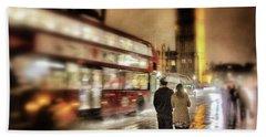 Westminster Bridge In Rain Beach Towel