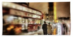Westminster Bridge In Rain Beach Towel