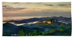 Beach Towel featuring the photograph Looking Glass Rock Sunrise Between The Clouds Blue Ridge Parkway by Reid Callaway