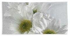 Wet White Flowers Beach Towel