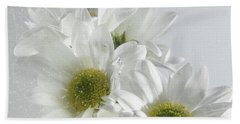 Wet White Flowers Beach Sheet