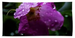 Beach Towel featuring the photograph Wet Wild Rose by Darcy Michaelchuk