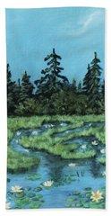 Beach Towel featuring the painting Wetland - Algonquin Park by Anastasiya Malakhova