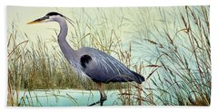 Beach Towel featuring the painting Wetland Beauty by James Williamson