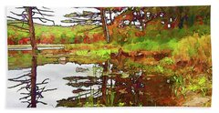 Beach Towel featuring the photograph Wetland Transition by Betsy Zimmerli