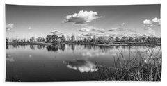 Wetlands Panorama Monochrome Beach Towel