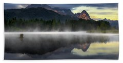 Wetterstein Mountain Reflection During Autumn Day With Morning Fog Over Geroldsee Lake, Bavarian Alps, Bavaria, Germany. Beach Towel