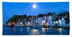 Beach Towel featuring the photograph Weymouth Harbour, Full Moon by Anne Kotan