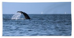 Whale Fluking Beach Towel by Suzanne Luft