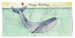 Whale Happy Birthday Card Beach Sheet by Katrina Davis
