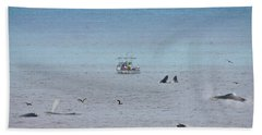 Whales At Sea - Collage Beach Towel