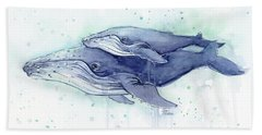 Whales Humpback Watercolor Mom And Baby Beach Towel by Olga Shvartsur