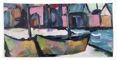 Wharf Boats Beach Towel