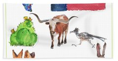 What Texas Loves, Texas Longhorn Watercolor Painting By Kmcelwaine Beach Towel