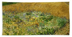 Beach Towel featuring the painting Wheat Field With Alpilles Foothills In The Background At Wheat Fields Van Gogh Series, By Vincent  by Artistic Panda