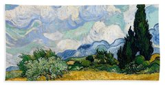 Beach Towel featuring the painting Wheatfield With Cypresses by Van Gogh