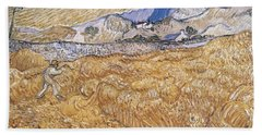 Beach Towel featuring the painting Wheat Field With Reaper Harvest In Provence by Artistic Panda