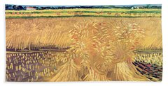 Wheatfield With Sheaves Beach Towel