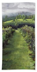 Beach Towel featuring the painting When The Vines Rest At Otts Farms And Vineyard by Jan Dappen