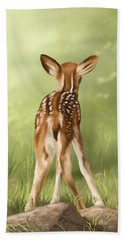 Beach Towel featuring the painting Where Is My Mom? by Veronica Minozzi