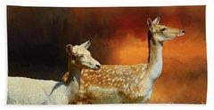 Two Deer At Sunset Beach Sheet