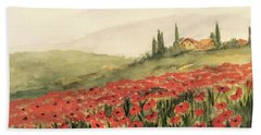 Where Poppies Grow Beach Towel