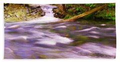 Beach Towel featuring the photograph Where The Stream Meets The River by Jeff Swan