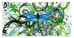 Whimsical Dragonflies Beach Towel by Genevieve Esson